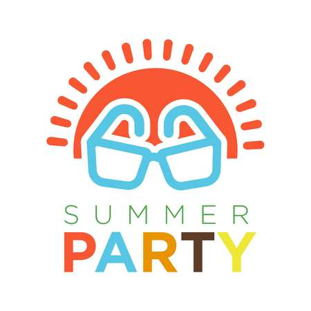 Summer party logotype with red sun and sunglasses vector illustration Illustration
