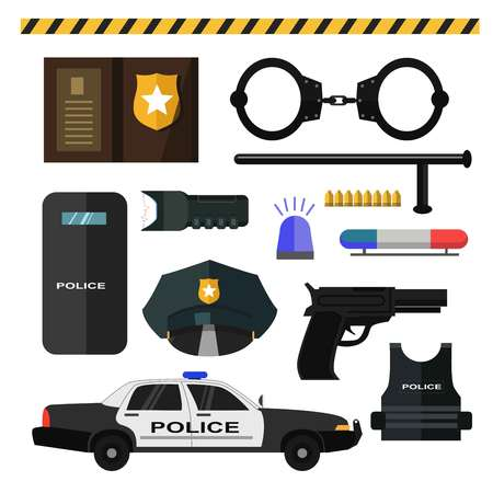 car: Concept of police equipment isolated on white Illustration