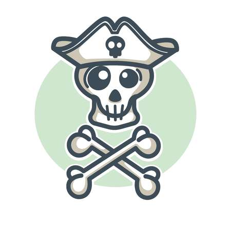 Skull in pirate hat with two crossed bones logo design