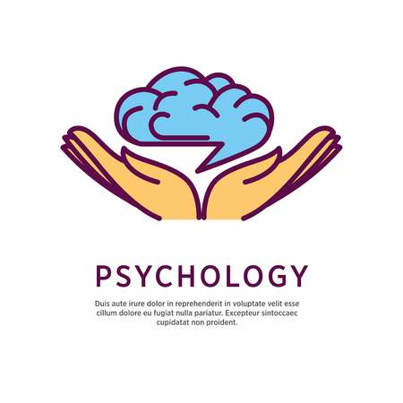 Psychology logo design with open hand palms with human brain