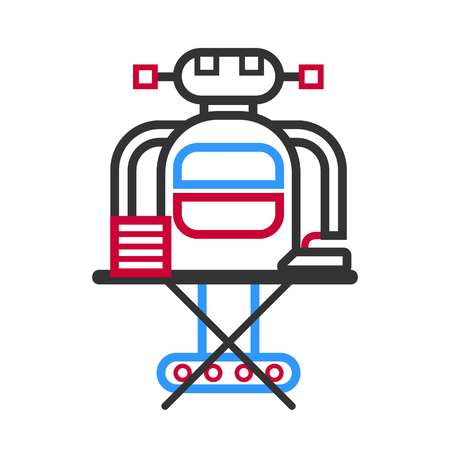 Technological robot housewife making ironing vector illustration in flat style