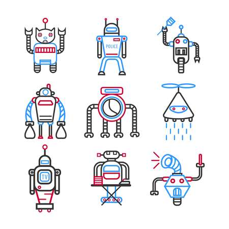 Robots graphic blue collection on white vector picture