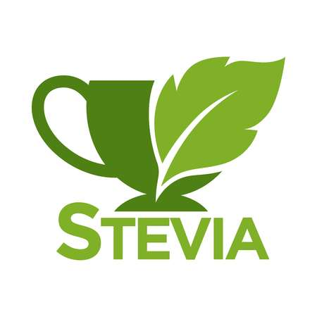 substitute: Green symbol of stevia or sweet grass on white background.