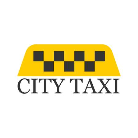 City taxi logotype with checker in yellow and black colors