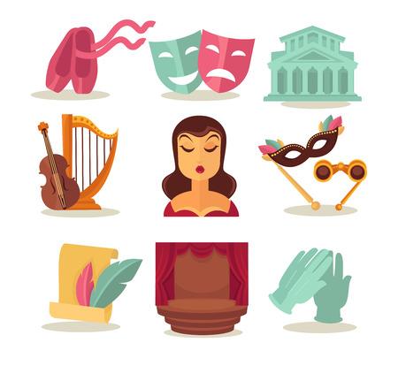 Set with theatre attributes Illustration