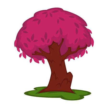 tree grass: Cartoon violet tree with massive trunk on green grass vector Illustration