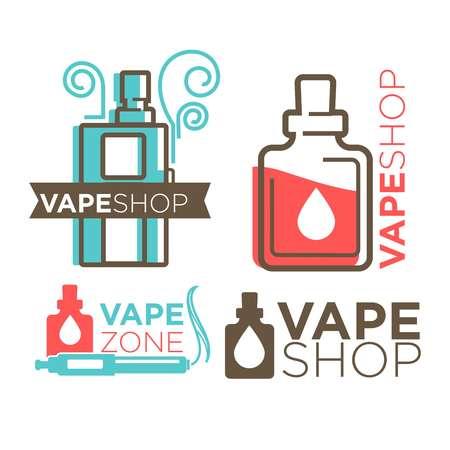 logotypes: Vape shop logotypes on white flat vector illustration
