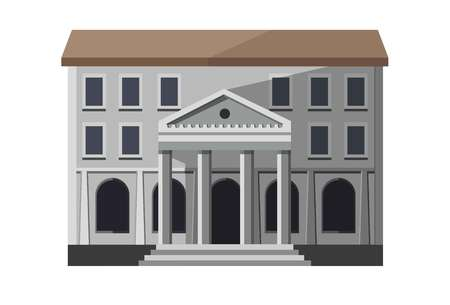 Gray bank building exterior Ilustrace