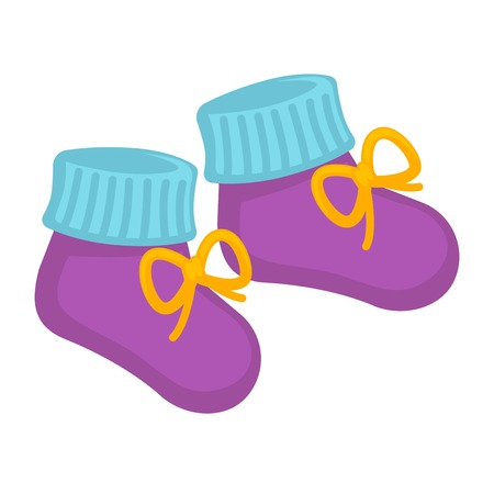 Vector illustration of a pair of cute little blue and purple colored socks for children.