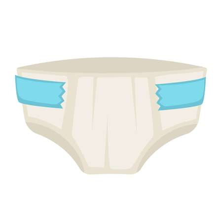 Vector illustration of childish diaper with blue line isolated on white.