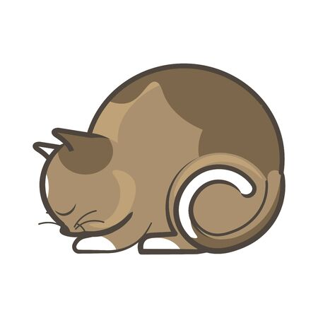 Side view of brown cat lying and sleeping isolated on white. Vector illustration.