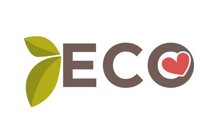 Vector illustration of the eco symbol with leaves and a heart.