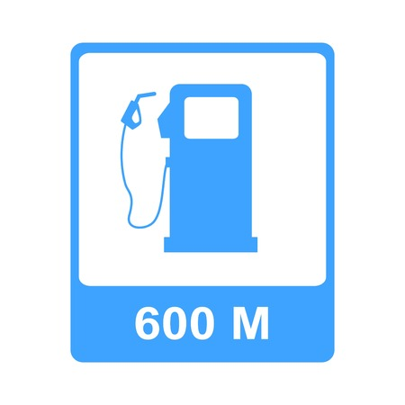 industry: Vector illustration of blue colored road sign showing the distance to gas station.