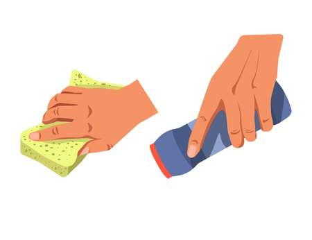 Hands with cleaning supplement Illustration