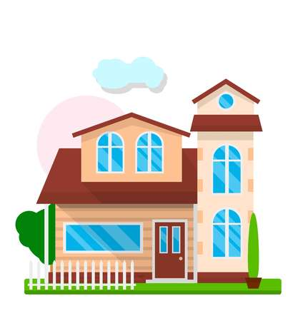 Vector illustration of residential house and a yard in the white background.