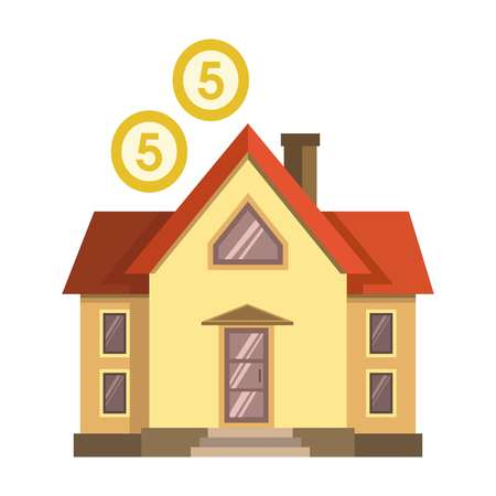 element: Vector illustration of a house with two coins over isolated on white.