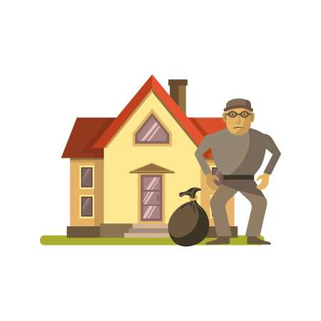 dangerous: Vector illustration of robber with bag standing at residential house.