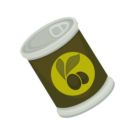 conserved: Vector illustration of a can of black olives isolated on white.