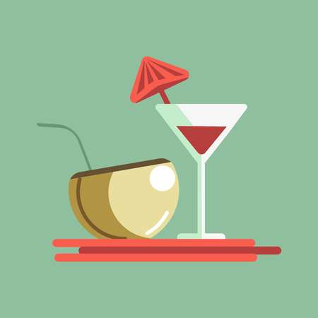 Cocktails on the server Illustration