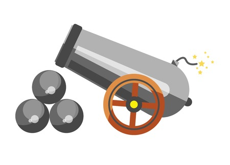 Cannon placed near balls Illustration