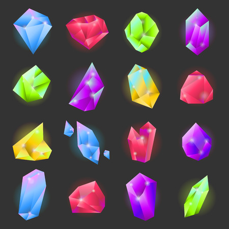 vecor: Crystals or gemstones of different forms and shapes vecor icons set