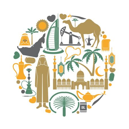 palm oil: Arab Emirates travel sightseeing icons and vector landmarks poster Illustration