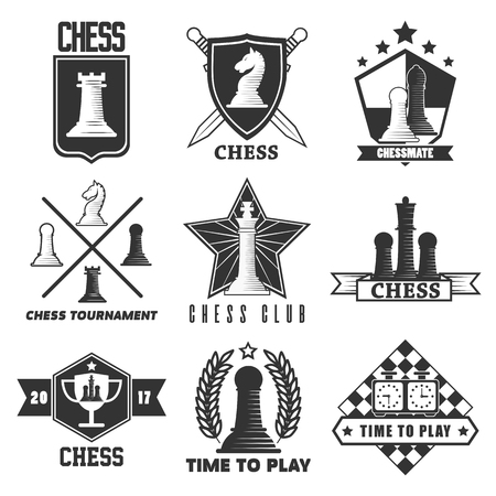 chess board: Chess tournament or club vector label icons templates