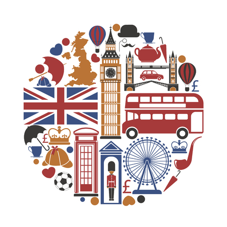 England UK travel sightseeing icons and vector landmarks poster