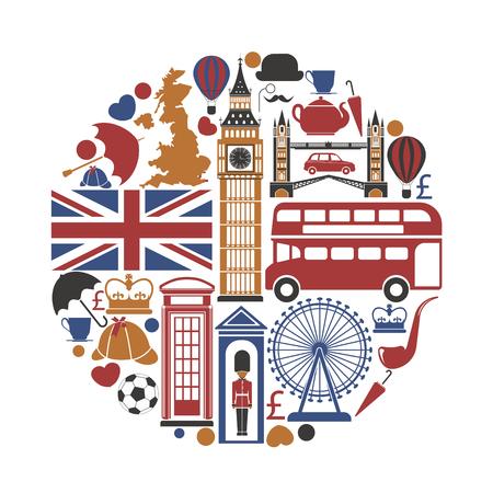 Icônes de tourisme de voyage Angleterre Royaume-Uni et affiche de points de repère de vecteur Banque d'images - 77082291