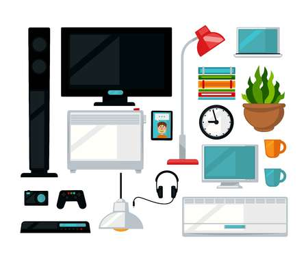 digital: Home living room interior furniture and digital appliances vector flat icons