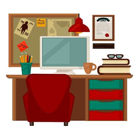 chest wall: Home parlor workplace furniture accessories vector flat icons Illustration