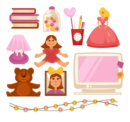 Girl kid room toys and appliances vector flat icons set Illustration