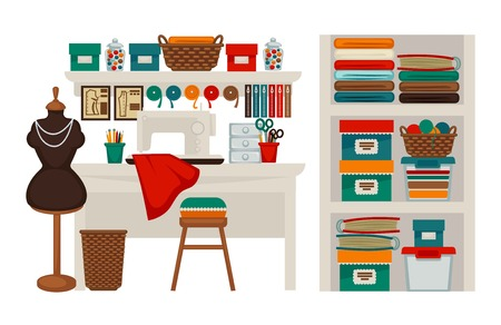 Atelier tailor or dressmaker modiste salon workplace vector flat icons set