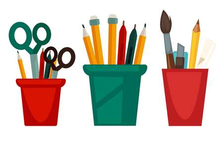 Home and office work stationery in cups vector flat icons