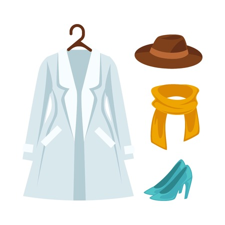 ladies shoes: Wardrobe outerwear clothes vector isolated flat icons set