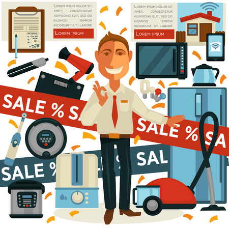 Promo sale and salesman promoter in home appliances shop vector design