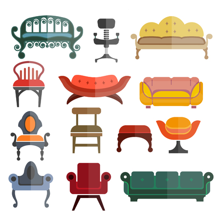 Furniture seats or chairs vector isolated flat icons set Illustration