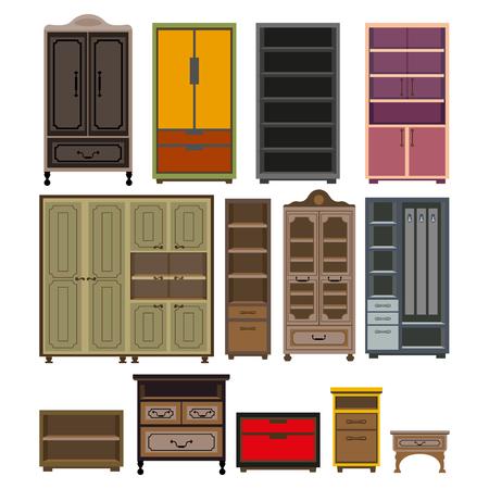 Ensemble d'armoires et armoires de meubles Vecteurs