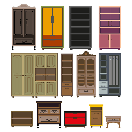 Furniture cabinet and wardrobe chests vector isolated flat icons set