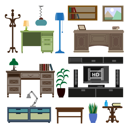 wood chair: Home room and workplace furniture pieces and accessories vector flat icons