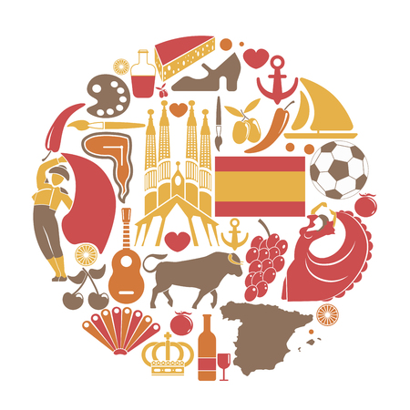 madrid: Spain travel sightseeing icons and vector Spanish landmarks poster