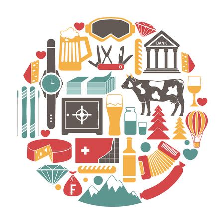 popular: Switzerland travel sightseeing icons and vector Swiss landmarks poster