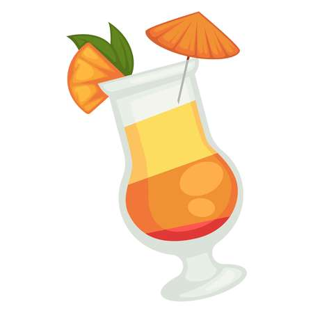 Colored cocktail of three layers with orange umbrella and piece of grapefruit Illustration