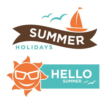 Summer hello holidays logotype with sun in sunglasses and ship
