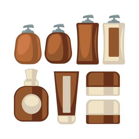 Brown-beige stylish bathroom beauty cosmetics poster on white Illustration