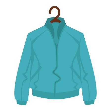 Blue jacket for man or woman on black hanger on white background Illustration