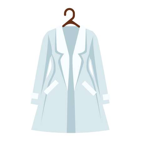 white coat: White and light blue color coat of women s wardrobe isolated apparel item.