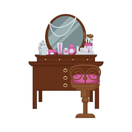 Dressing table with woman accessories and chair vector illustration