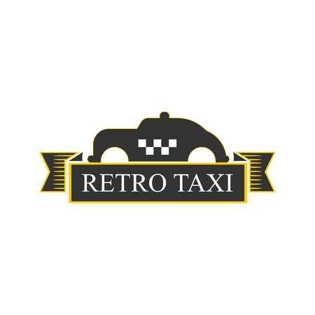 Retro taxi logotype with vintage car in yellow and black Illustration