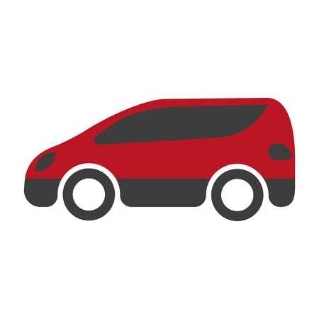 spacious: Red and black spacious minibus on white background